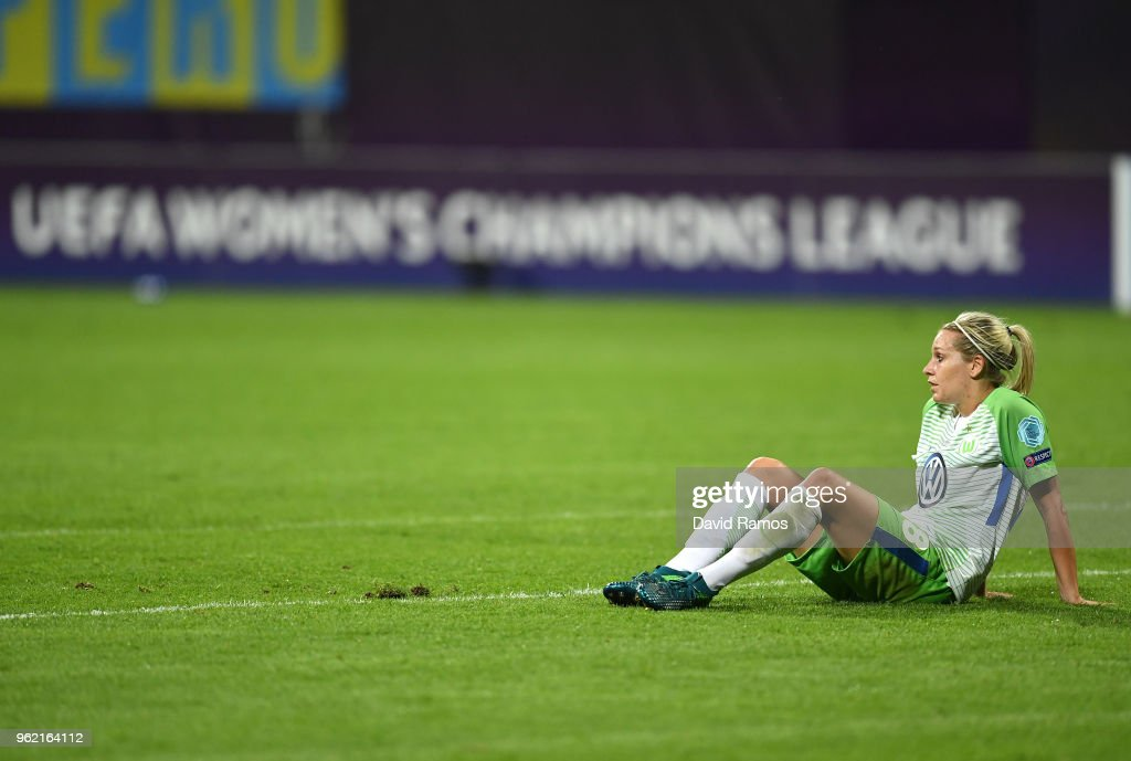 Lena Goeßling of Vfl Wolfsburg lookd dejected after the UEFA Womens Champions League Final between VfL Wolfsburg and Olympique Lyonnais on May 24, 2018 in Kiev, Ukraine.