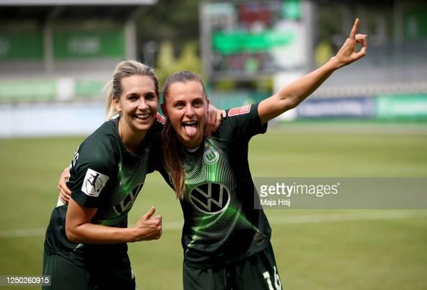 Lena Goeßling of Wolfsburg celebrate with team mate Noelle Maritz after the Flyeralarm Frauen Bundesliga match between VfL Wolfsburg Women's and SC...