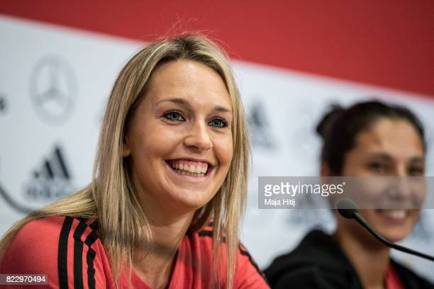 'SHERTOGENBOSCH NETHERLANDS JULY 26 Lena Goessling and Sara Doorsoun smile during Germany Press Conference on July 26 2017 in 'sHertogenbosch...