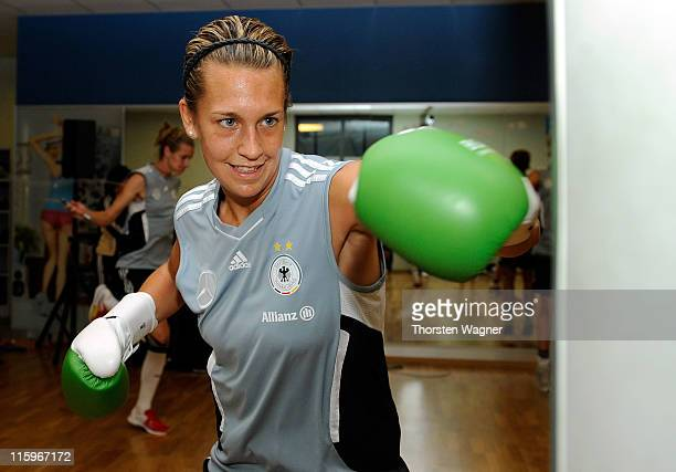 Lena Goessling boxes during a Germany training session at Fitness First club on June 13 2011 in Frankfurt am Main Germany