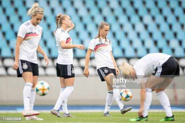 Lena Goessling , Giulia Gwinn, Klara Buehl and Kathrin Hendrich during Germany training session on June 10, 2019 at Stadium Lille Metropole in Lille,...