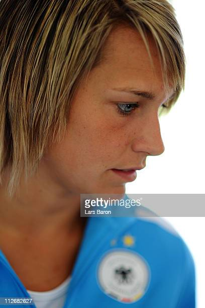 Lena Goessling looks on during a German Women National Team press conference at NetCologne Stadium on April 20 2011 in Cologne Germany