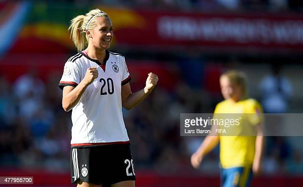 Lena Goessling of Germany celebrates after winning the FIFA Women's World Cup 2015 Round of 16 match between Germany and Sweden at Lansdowne Stadium...