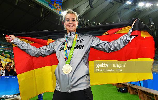Lena Goessling of Germany celebrates after winning the Olympic Women's Football final between Sweden and Germany at Maracana Stadium on August 19...