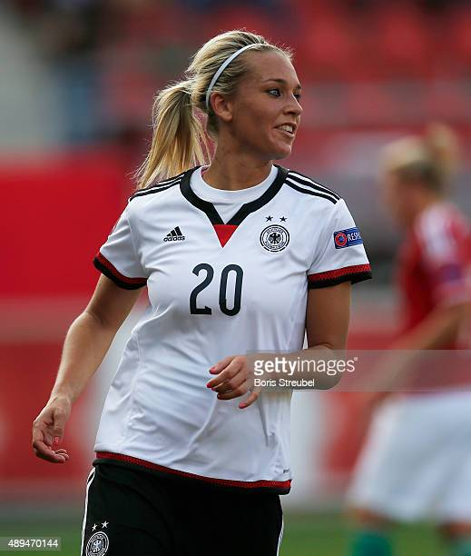 Lena Goessling of Germany celebrates during the UEFA Women's Euro 2017 Qualifier between Germany and Hungary at Erdgas Sportpark on September 18 2015...