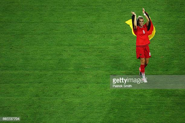 Lena Goessling of Germany celebrates following victory during the Women's Olympic Gold Medal match between Sweden and Germany at Maracana Stadium on...