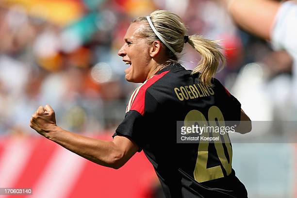 Lena Goessling of Germany celebrates the first goal during the Women's International Friendly match between Germany and Scotland at Stadium Essen on...