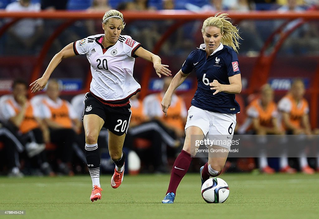 Lena Goessling of Germany chases Amandine Henry of France during the FIFA Women's World Cup Canada 2015 Quarter Final match between Germany and France at Olympic Stadium on June 26, 2015 in Montreal, Canada.