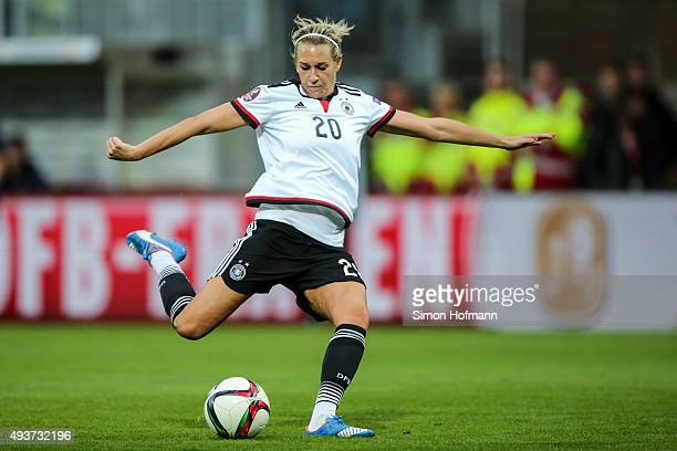 Lena Goessling of Germany controls the ball during the UEFA Women's Euro 2017 Qualifier match between Germany and Russia at BRITAArena on October 22...