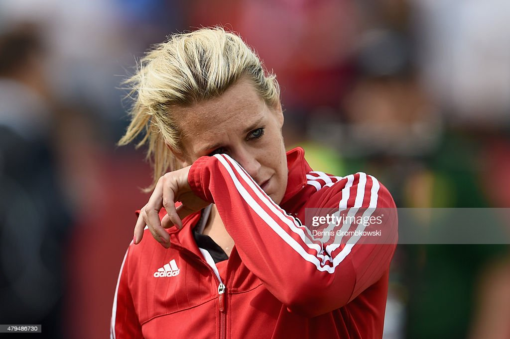 Lena Goessling of Germany looks dejected after the FIFA Women's World Cup Canada 2015 Third Place Play-off match between Germany and England at Commonwealth Stadium on July 4, 2015 in Edmonton, Canada.