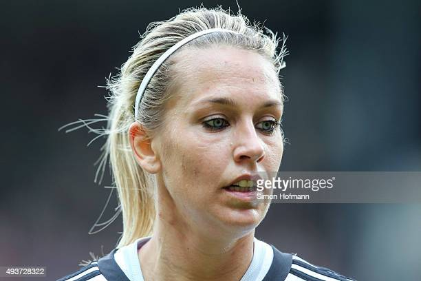 Lena Goessling of Germany looks on during the UEFA Women's Euro 2017 Qualifier match between Germany and Russia at BRITAArena on October 22 2015 in...