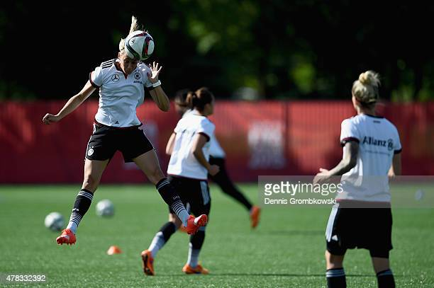 Lena Goessling of Germany practices during a training session at Stade de Montreal on June 24, 2015 in Montreal, Canada.