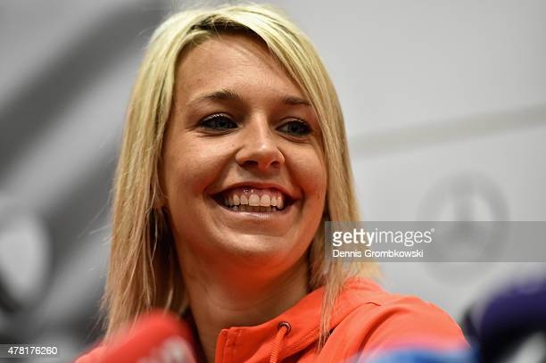Lena Goessling of Germany reacts during a press conference at Montreal Convention Centre on June 23 2015 in Montreal Canada
