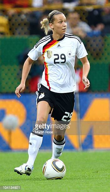 Lena Goessling of Germany runs with the ball during the Women's International Friendly match between Germnay and Canada at Rudolf Harbig stadium on...