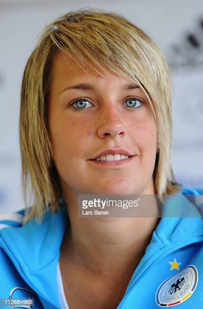Lena Goessling smiles during a German Women National Team press conference at NetCologne Stadium on April 20 2011 in Cologne Germany