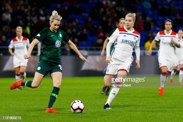 Lena Groessling of Wolfsburg and Hegerberg Ada of Lyon during the Women's Champions League match between Lyon and Wolfsburg on March 20 2019 in Lyon...