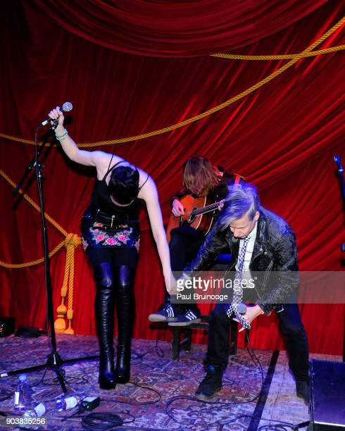 """Lena Hall and John Cameron Mitchell attend The Cinema Society & Bluemercury host the after party for IFC Films' """"Freak Show"""" at Public Arts on..."""