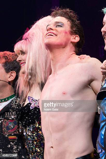 Lena Hall and Michael C Hall perform on stage during the curtain call of 'Hedwig And The Angry Inch' at Belasco Theatre on October 29 2014 in New...