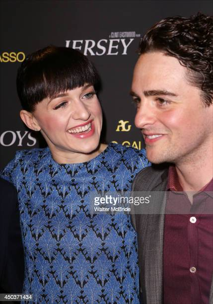 Lena Hall and Vincent Piazza attend a special New York screening reception for 'Jersey Boys' hosted by Angelo Galasso at Angelo Galasso on June 2014...