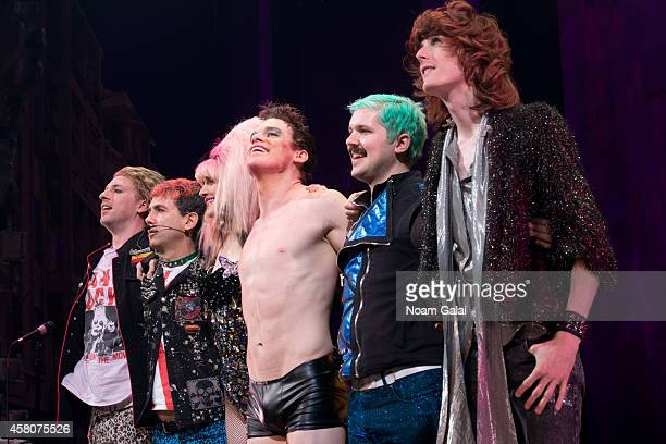 """Lena Hall, Michael C. Hall and the cast of Hedwig And The Angry Inch perform on stage during the curtain call of """"Hedwig And The Angry Inch"""" at..."""