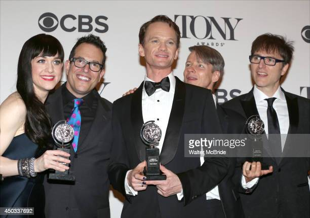 Lena Hall Michael Mayer Neil Patrick Harris Ben Cameron Mitchell and Stephen Trask in the press room during the 68th Annual Tony Awards on June 8...