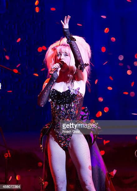Lena Hall performs on stage during the curtain call of 'Hedwig And The Angry Inch' at Belasco Theatre on October 29 2014 in New York City