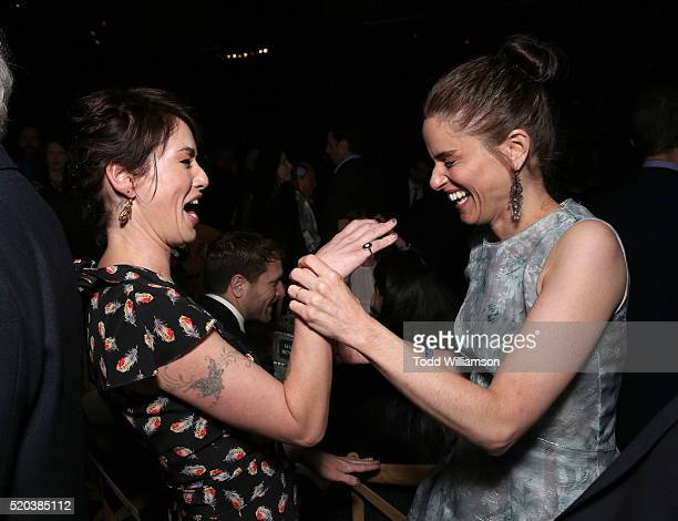 Lena Headey and Amanda Peet attend the after party for the premiere Of HBO's 'Game Of Thrones' Season 6 at the Roosevelt Hotel on April 10 2016 in...