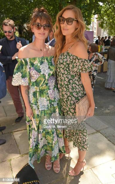 Lena Headey and Jacqui Ainsley attend Piers Adam and Sophie Vanacore's wedding at St John's Church on July 7 2017 in London England