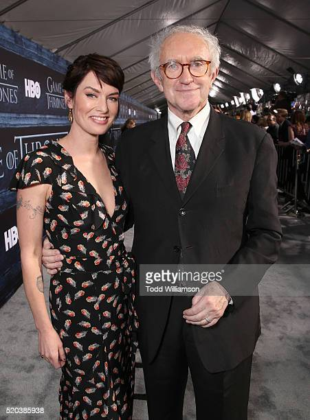 Lena Headey and Johnathan Pryce attend the premiere of HBO's 'Game Of Thrones' Season 6 at TCL Chinese Theatre on April 10 2016 in Hollywood...