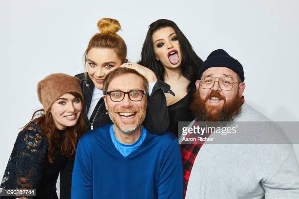 Lena Headey Florence Pugh Stephen Merchant Paige and Nick Frost from 'Fighting With My Family' pose for a portrait in the Pizza Hut Lounge in Park...