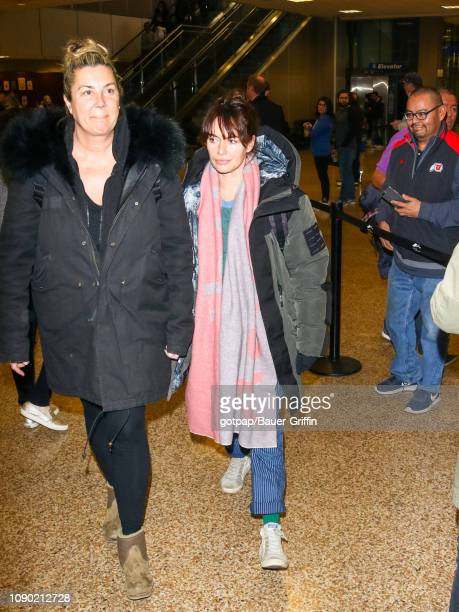 Lena Headey is seen at Salt Lake City International Airport on January 26 2019 in Park City Utah