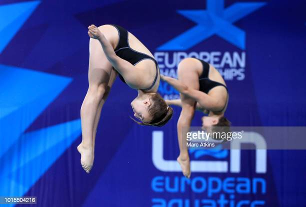 Lena Hentschel and Tina Punzel of Germany compete in the Women's 3m Synchronised Springboard Final during the diving on Day eleven of the European...
