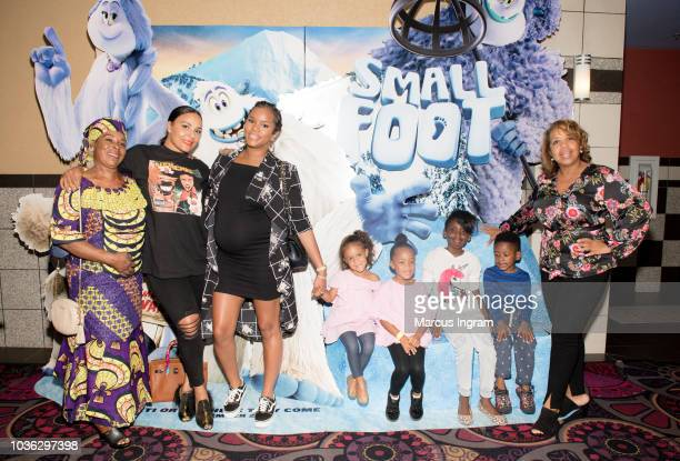 Lena Huggs and daughter attend the 'Smallfoot' special screening with The Ludacris Foundation at Regal Atlantic Station on September 19 2018 in...