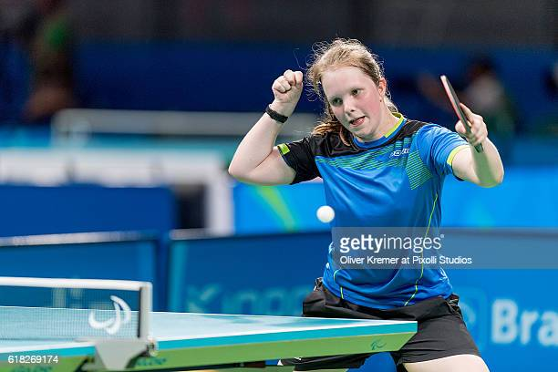 Lena Kramm of BSV München/Bayern [paralympic classification CL9] fighting hard against Guiyan Xiong on Day 2 of the Rio 2016 Paralympic Games during...
