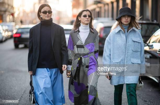 Lena Lademann Liberta Haxhikadriu and Swantje Soemmer is seen outside Mykke Hofmann during the Copenhagen Fashion Week Autumn/Winter 2019 Day 1 on...