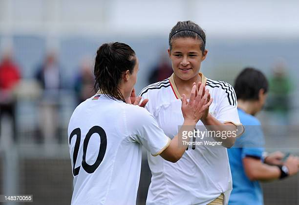 Lena Lotzen and her team mate Lina Magull celebrates after her teams third goal during the women's U20 international friendly match between Germany...