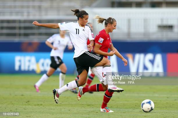 Lena Lotzen of Germany and Ida Aardalen of Norway battle for the ball during the FIFA U20 Women's World Cup Japan 2012 Quarter Final match between...