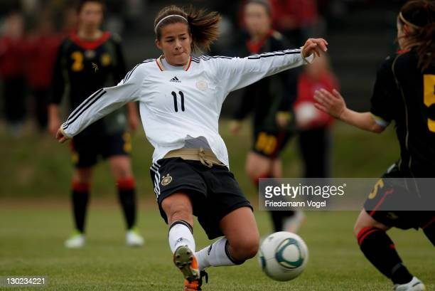 Lena Lotzen of Germany scores her team's the first goal during the U20 Women's International friendly match between Germany and Belgium on October 25...