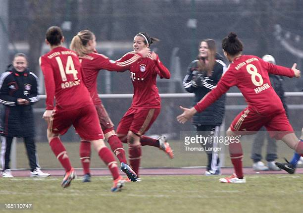 Lena Lotzen of Munich celebrates after the 10 goal during the Women's Soccer Bundesliga Match between Bayern Muenchen and 1 FFC Turbine Potsdam on...