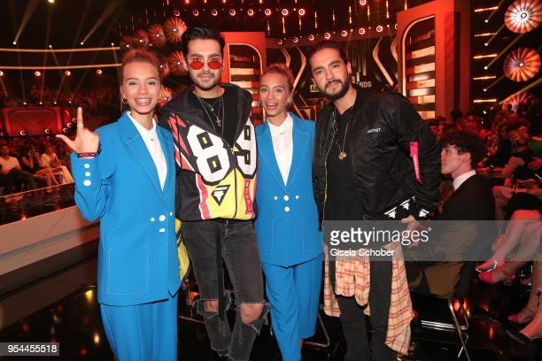 Lena Mantler and her twin sister Lisa Mantler @lisaandlena and Bill Kaulitz and his brother Tom Kaulitz during the 2nd ABOUT YOU Awards 2018 at...