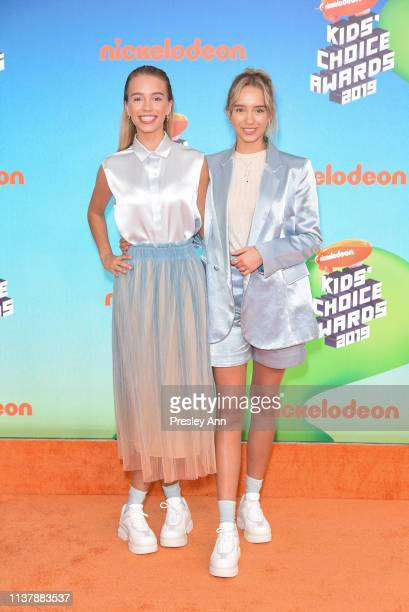 Lena Mantler and Lisa Mantler attend Nickelodeon's 2019 Kids' Choice Awards at Galen Center on March 23 2019 in Los Angeles California