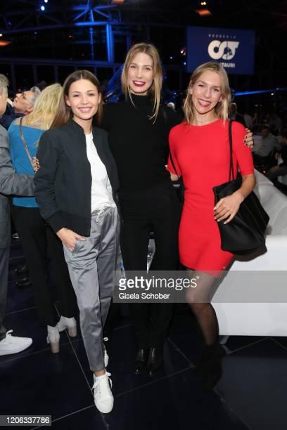 Lena Meckel Sarah Brandner and Julia Dietze attend the Scuderia Alpha Tauri launch event at Hangar 7 on February 14 2020 in Salzburg Austria