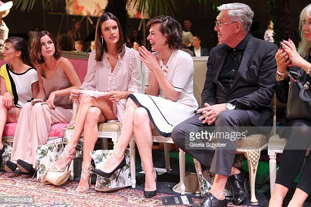 Lena MeyerLandrut Alessandra Ambrosio and Milla Jovovich and Helmut Schlotterer Founder and CEO of Marc Cain during the Marc Cain fashion show...