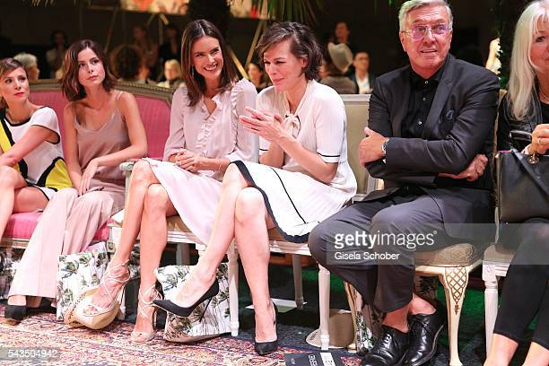 Lena MeyerLandrut Alessandra Ambrosio Milla Jovovich and Helmut Schlotterer Founder and CEO of Marc Cain during the Marc Cain fashion show...