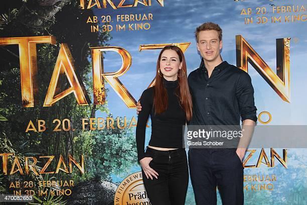 Lena MeyerLandrut Alexander Fehling attend the 'Tarzan' photocall at Hotel Bayerischer Hof on February 18 2014 in Munich Germany