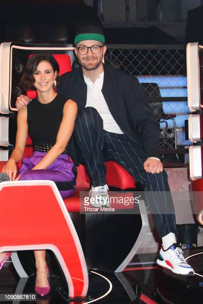 """Lena Meyer-Landrut and Mark Forster during the photo call for the show """"The Voice Kids"""" on January 28, 2019 in Berlin, El Salvador."""