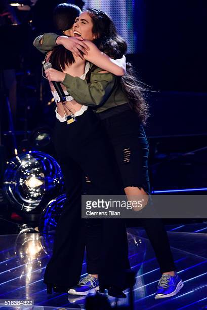 Lena MeyerLandrut and Melisa attend the 'The Voice Kids' Semi Finals on March 11 2016 in Berlin Germany