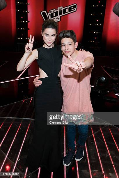 Lena MeyerLandrut and NoahLevi attend the 'The Voice Kids' Finals on April 24 2015 in Berlin Germany