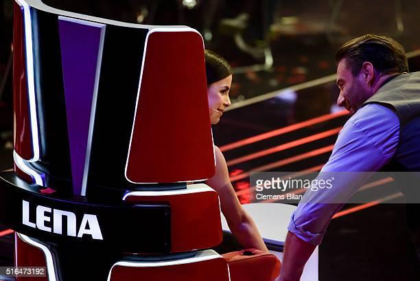 Lena MeyerLandrut and Sasha aka Sascha Schmitz attend the 'The Voice Kids' Semi Finals on March 11 2016 in Berlin Germany