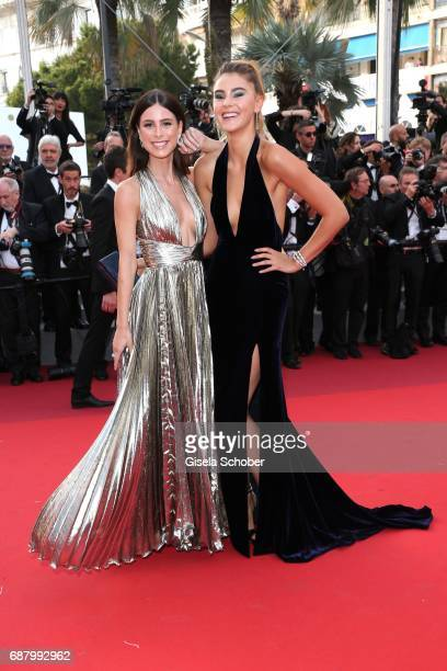 Lena MeyerLandrut and Stefanie Giesinger attend the 'The Beguiled' screening during the 70th annual Cannes Film Festival at Palais des Festivals on...